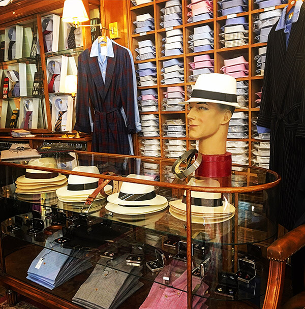 Hats & Shirts Display in Harrogate Shop